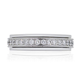 Piaget Possession 18k White Gold 0.56ctw Diamond Rotating Band Ring Size 5