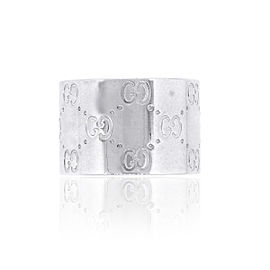 Gucci 18k White Gold Monogram Icon Wide XL Band Ring Size 7.75