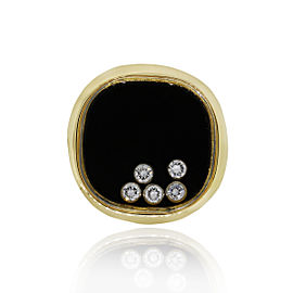 Chopard 18k Yellow Gold 5 Floating Diamond and Onyx Mens Ring Size 7