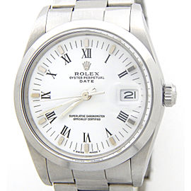 Mens Rolex Stainless Steel Date White Roman 15000