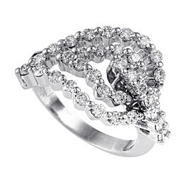 Raima 18K White Gold Diamond Leaf Ring
