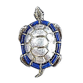 "18K White and Yellow Gold Blue Lapis Lazuli & Sapphire ""Longevity Turtle"" Pin Brooch"
