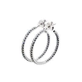 Roberto Coin 18K White Gold with Diamond Hoop Earrings