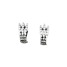 Roberto Coin 18K White Gold with Diamond 3 Row Earrings
