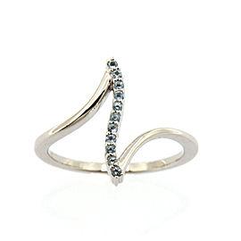 10k White Gold Blue Topaz Bar Ring Size 7