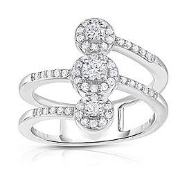 10k White Gold Diamond Bypass Fashion Band Size 7