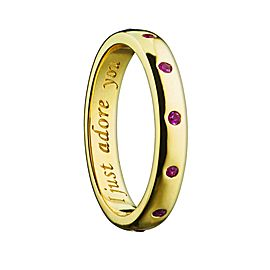 Monica Rich Kosann Yellow Gold Posey Ring Rubies .10carats