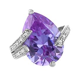 Amethyst with Diamond Tear Drop Ring