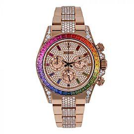 Custom Rolex Daytona 116505 Pave Rainbow Diamond Dial Rainbow Bezel Diamond Middle Bracelet Diamond Lugs Rose Gold Watch