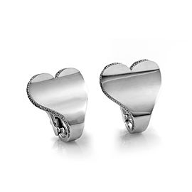 Roger Dubuis 18K White Gold Diamond Heart Earrings