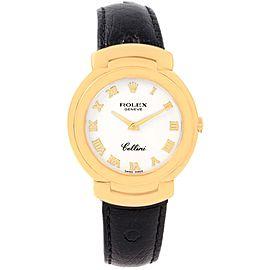 Rolex Cellini 6622 18K Yellow Gold & White Roman Dial Quartz 33mm Womens Watch