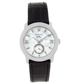 Rolex Cellini Cellinium 5240 Platinum & Black Strap 35mm Mens Watch