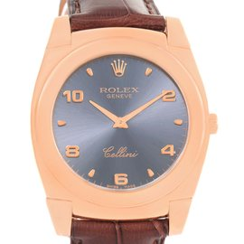 Rolex Cellini Cestello 5330 18K Rose Gold / Leather Slate Dial 35mm Mens Watch
