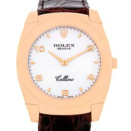 Rolex Cellini Cestello 5330 18K Rose Gold White Dial 35mm Mens Watch
