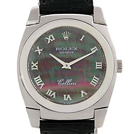 Rolex Cellini Cestello 5320 18K White Gold / Leather Mother Of Pearl Dial 32mm Unisex Watch