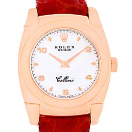 Rolex Cellini Cestello 5310 18K Rose Gold Red Strap 26mm Womens Watch