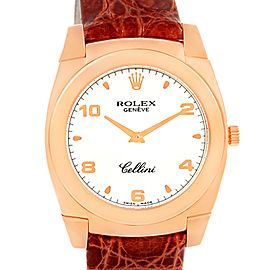 Rolex Cellini Cestello 5330 18K Rose Gold White Dial Brown Strap 35mm Mens Watch