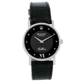 Rolex Cellini Classic 5115 18K White Gold & Black Dial 31.8mm Unisex Watch