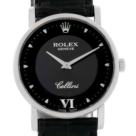 Rolex Cellini Classic 5115 18K White Gold / Leather Black Dial 31.8mm Mens Watch