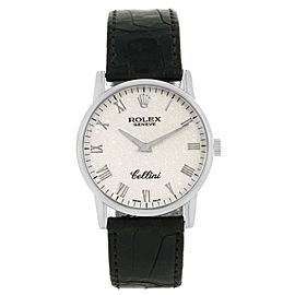 Rolex Cellini Classic 5116 18K White Gold Silver Jubilee Dial 31.8mm Mens Watch