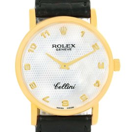 Rolex Cellini Classic 5115 18K Yellow Gold Mother of Pearl Dial 31.8mm Mens Watch