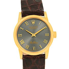 Rolex Cellini Classic 6111 18K Yellow Gold Slate Dial 26mm Womens Watch
