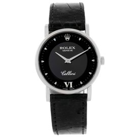 Rolex Cellini 5115 18K White Gold & Leather Black Dial Manual 31.8mm Unisex Watch