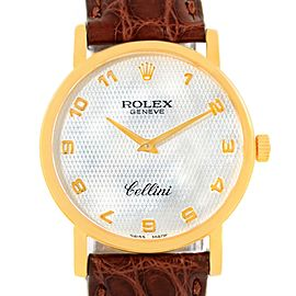 Rolex Cellini Classic 5115 Yellow Gold Mother of Pearl Brown Strap 31.8mm Mens Watch