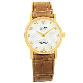 Rolex Cellini 5115 18K Yellow Gold & Leather Mother of Pearl Dial Manual 31.8mm Unisex Watch