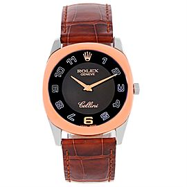 Rolex Cellini Danaos 4233 18K White and Rose Gold Black Dial 34mm Mens Watch