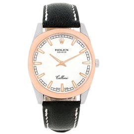 Rolex Cellini Danaos 4243 18K White, Rose Gold and Leather Manual 38mm Mens Watch