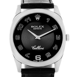Rolex Cellini Danaos 4233 18K White Gold with Black Dial 34mm Unisex Watch