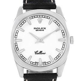 Rolex Cellini Danaos 4243 18K White Gold White Baton Dial 38mm Mens Watch