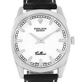 Rolex Cellini Danaos 4243 18K White Gold White Baton Dial 38mm Mens Watch