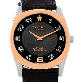 Rolex Cellini Danaos 18K White Rose Gold Black Strap 34mm Mens Watch