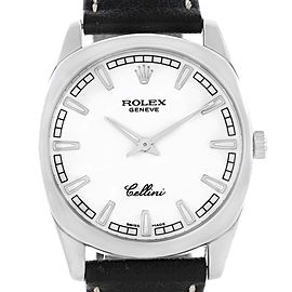 Rolex Cellini Danaos 4243 18K White Gold / Leather White Dial 38mm Mens Watch