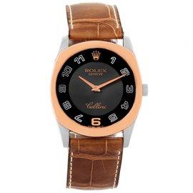 Rolex Cellini Danaos 4233 White Rose Gold Black Dial 34mm Mens Watch