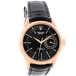 Rolex Cellini 50515 18K Rose Gold & Leather Automatic 39mm Mens Watch