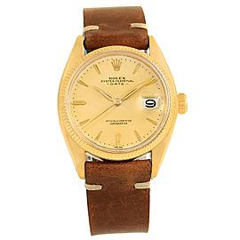 Rolex Date 6537 18K Yellow Gold & Brown Strap Vintage 34mm Mens Watch