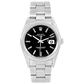 Rolex Date 15200 Stainless Steel Black Baton Dial Automatic 34mm Mens Watch