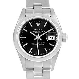 Rolex Date 79160 Stainless Steel & Black Index Dial Automatic 25mm Womens Watch