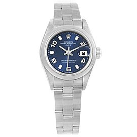 Rolex Date 79240 Stainless Steel Blue Dial Automatic 26mm Womens Watch