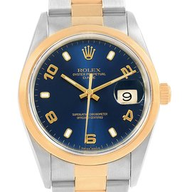Rolex 15203 Date Stainless Steel 18K Yellow Gold Automatic Blue Dial 34mm Mens Watch