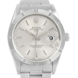 Rolex Date 15210 Stainless Steel Silver Baton Dial 34mm Mens Watch