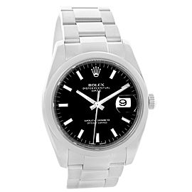 Rolex Date 115200 Stainless Steel Black Baton Dial 34mm Mens Watch