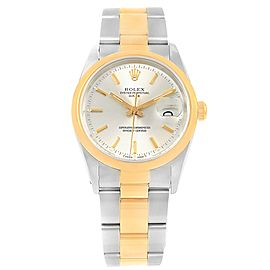 Rolex Date 15203 Stainless Steel & 18K Yellow Gold Silver Dial 34mm Mens Watch