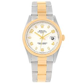 Rolex Date 15203 Stainless Steel & 18K Yellow Gold White Dial 34mm Mens Watch