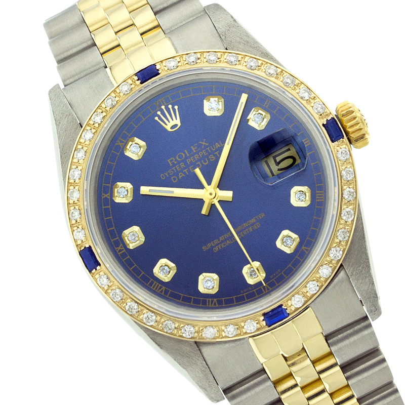 06e13f25d59 Rolex Datejust 16013 36mm Blue Diamond Sapphire Two-Tone Watch | Rolex |  Buy at TrueFacet
