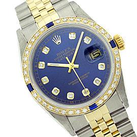 Rolex Datejust 16013 36mm Blue Diamond Sapphire Two-Tone Watch