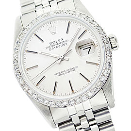 Rolex Datejust 16014 Stainless Steel Silver Diamond Dial 36mm Mens Watch